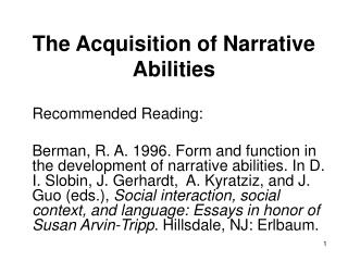 The Acquisition of Narrative Abilities