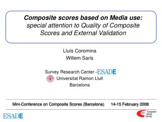 Composite scores based on Media use: special attention to Quality of Composite Scores and External Validation