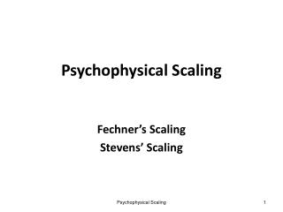 Psychophysical Scaling