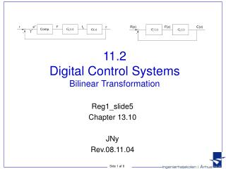 11.2 Digital Control Systems Bilinear Transformation