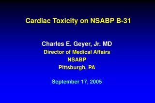 Cardiac Toxicity on NSABP B-31