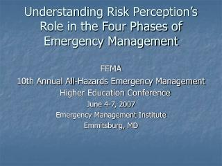 Understanding Risk Perception's Role in the Four Phases of Emergency Management