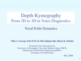 Depth-Kymography From 2D to 3D in Voice Diagnostics