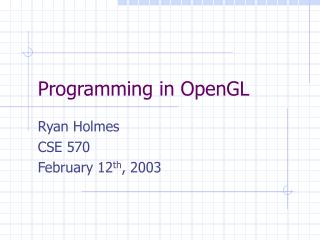 Programming in OpenGL