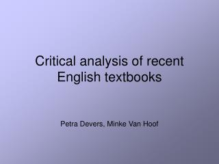 Critical analysis of recent English textbooks