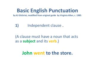 1) 	   Independent  clause . (A clause must have a noun that acts as a  subject  and its  verb .)