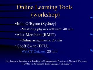 Online Learning Tools  (workshop)