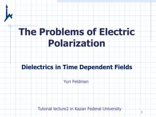 The Problems of Electric Polarization