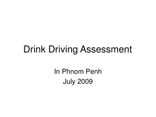 Drink Driving Assessment
