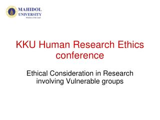 KKU Human Research Ethics conference