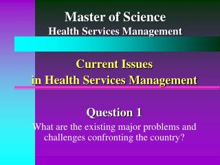 Master of Science Health Services Management