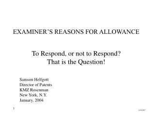 EXAMINER'S REASONS FOR ALLOWANCE