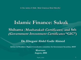 Islamic Finance: Sukuk