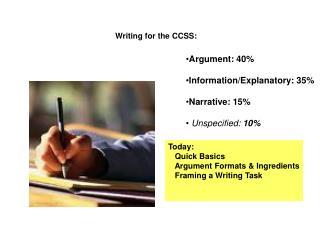 Argument: 40% Information/Explanatory: 35% Narrative: 15% Unspecified: 10%