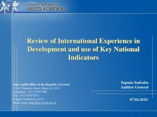 Review of International Experience in Development and use of Key National Indicators