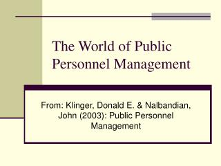 The World of Public Personnel Management