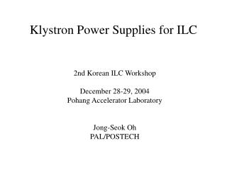 Klystron Power Supplies for ILC