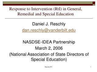 Response to Intervention (RtI) in General, Remedial and Special Education