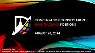 COMPENSATION CONVERSATION NON-TEACHING  POSITIONS  AUGUST 28, 2014