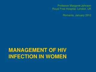 Management of HIV Infection in Women
