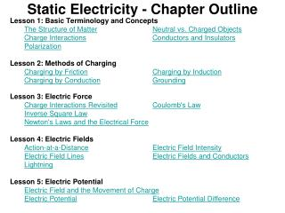 Static Electricity - Chapter Outline