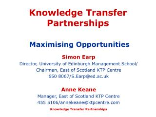 Knowledge Transfer Partnerships Maximising Opportunities