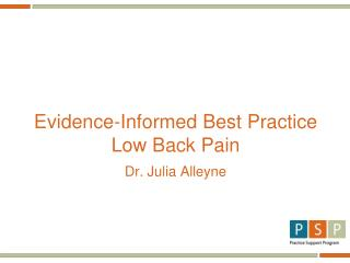 Evidence-Informed Best Practice Low Back Pain