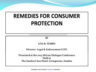 REMEDIES FOR CONSUMER PROTECTION
