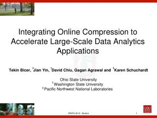Integrating Online Compression to Accelerate Large-Scale Data Analytics Applications