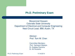 Ph.D. Preliminary Exam