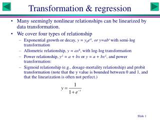 Transformation & regression