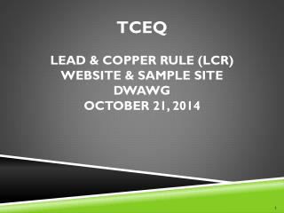 TCEQ  Lead & Copper RULE (LCR) website & Sample site DWAWG October 21, 2014