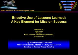 Effective Use of Lessons Learned: A Key Element for Mission Success Presented by Paul S. Gill Manager, NASA Technical St