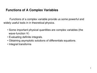 Functions of A Complex Variables