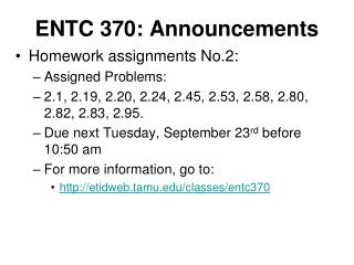 ENTC 370: Announcements