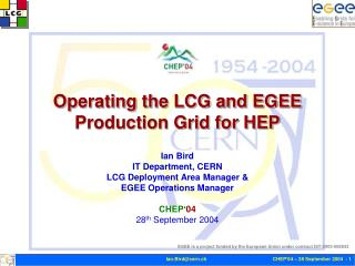 Operating the LCG and EGEE Production Grid for HEP