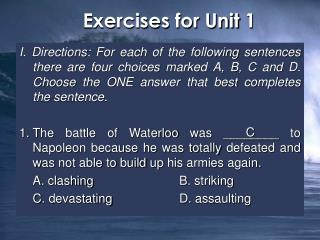 Exercises for Unit 1