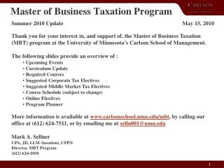 Master of Business Taxation Program