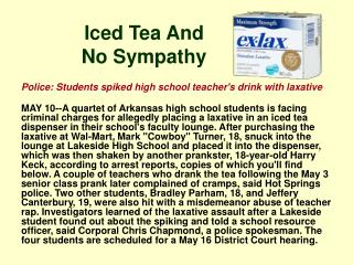 Police: Students spiked high school teacher's drink with laxative