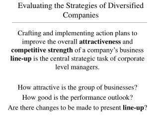 Evaluating the Strategies of Diversified Companies