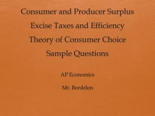 AP Economics Mr. Bordelon