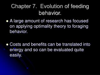 Chapter 7.  Evolution of feeding behavior.
