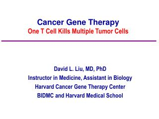 Cancer Gene Therapy One T Cell Kills Multiple Tumor Cells