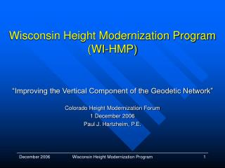 Wisconsin Height Modernization Program (WI-HMP)