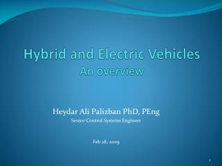 Hybrid and Electric Vehicles An overview