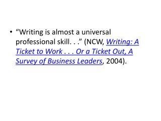 National Commission on Writing ( NCW ):