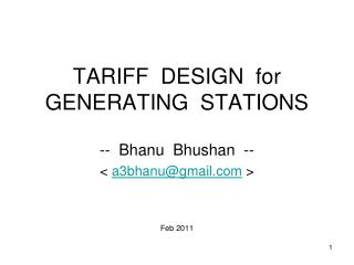 TARIFF  DESIGN  for  GENERATING  STATIONS