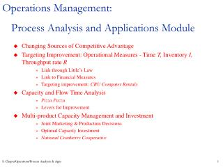 Operations Management: Process Analysis and Applications Module