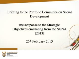 Briefing to the Portfolio Committee on Social Development