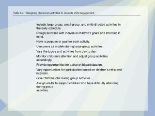 Table 9.4.  Designing classroom activities to promote child engagement